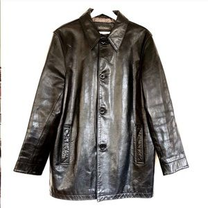 Vintage BR Thick Motorcycle Leather Overcoat